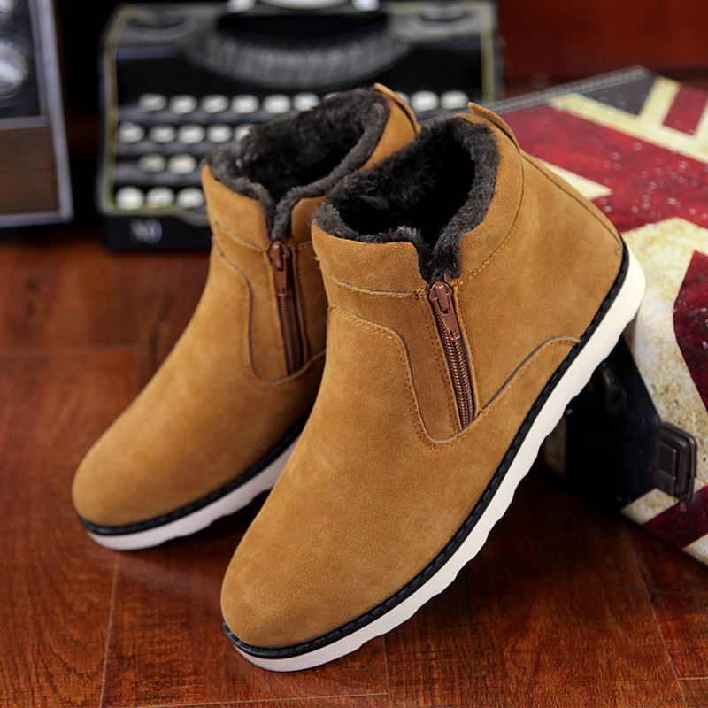 Suede ankle boots zip women shoes cheap snow boots big size 6-15 solid rubber boots warm shoe black/brown/blue booties