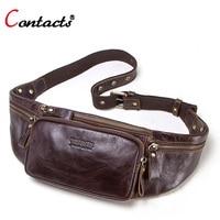 Contact's genuine cow leather fanny pack waist bag men money belt bag leather chest bag for men waistbag bum belt pouch unisex