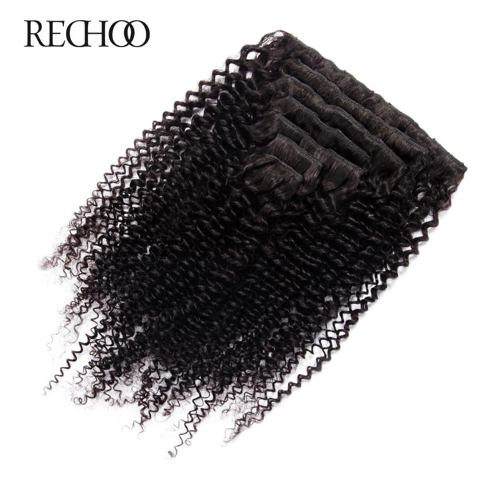 Rechoo African American Kinky Curly Clip Në Zgjatjet e Flokëve Jo - Flokët e njeriut (të bardha) - Foto 2