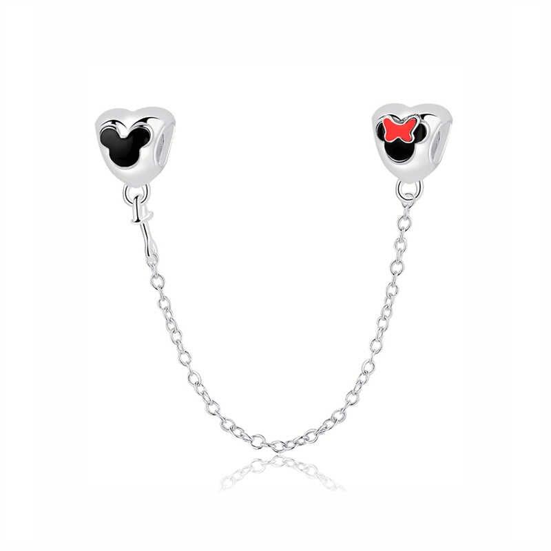 Moda 100% 925 ayar gümüş boncuk Charm sevimli fare köpüklü kalp Charms Fit orijinal Pandora bilezik ve bilezik takı
