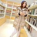 Plus Size Mulheres Moda Slim Down Jacket Novo 2015 Inverno Mulheres solta Patchwork Longo Casaco Grosso Para Baixo Ocasional Venda Quente S-XXXL FB051
