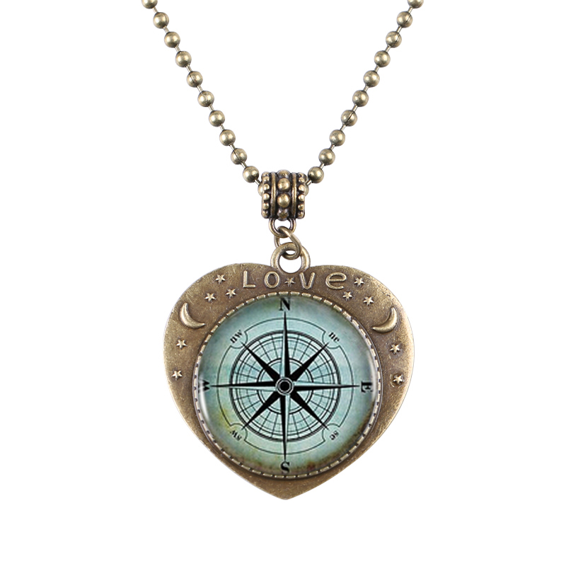 Wholesale 3pcslot Nautical Compass Bronze Heartshaped Pendant