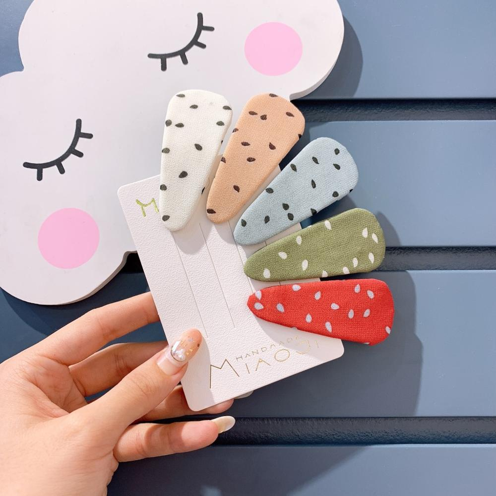 Kids Children Girls Hair clips Cute BB Hairpins Head Wear Korean Japan New Fabric Dot Water Drop Accessories-SWC5