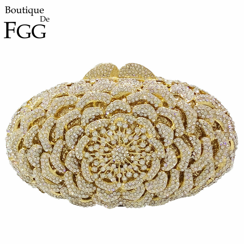 Gold Plated Hollow Out Floral Clear Crystal Women's Evening Clutch Bags Party Cocktail Diamond Handbags Metal Clutches Purse диски helo he844 chrome plated r20
