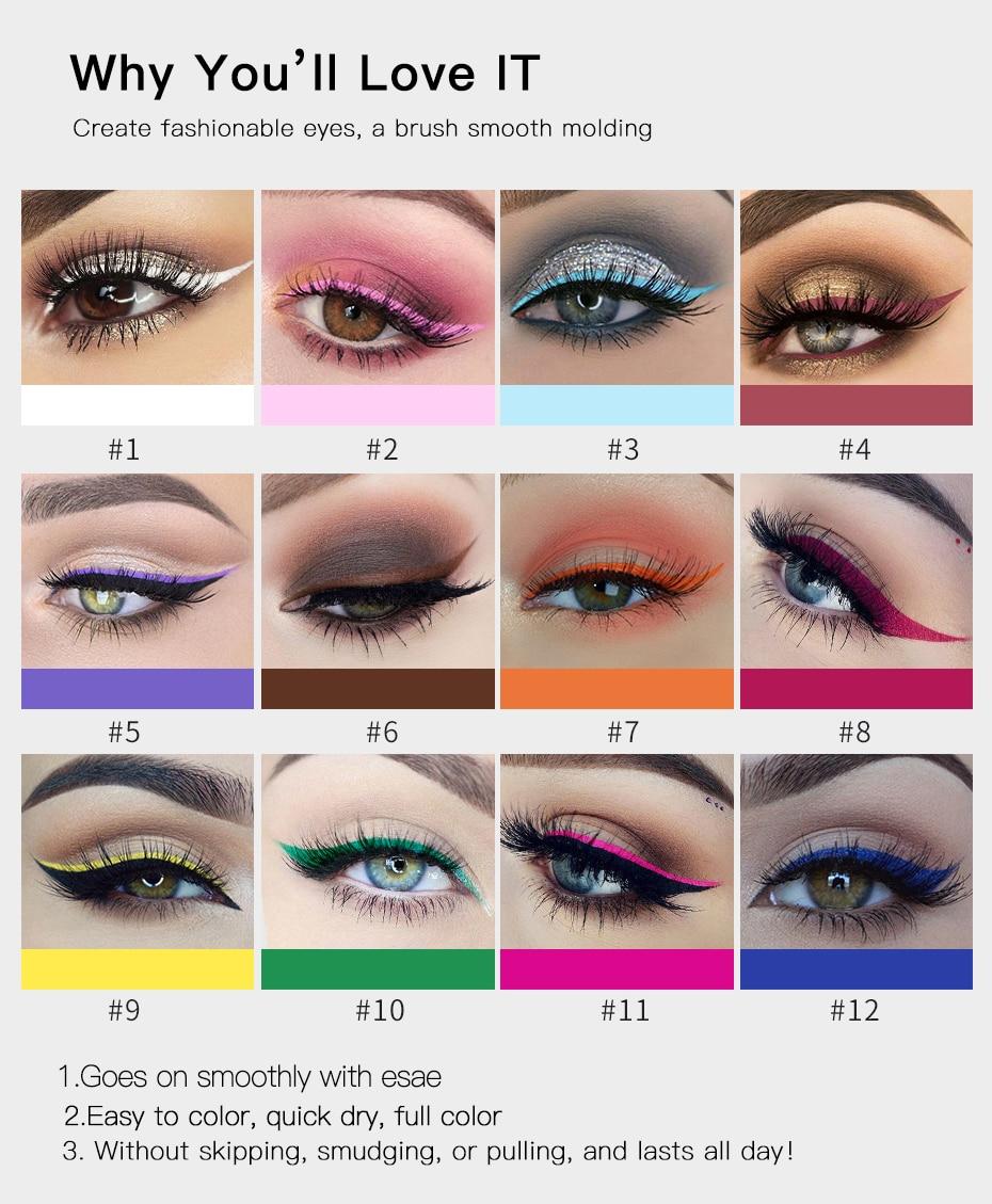 Eyeliner Handaiyan Matte Eyeliner Eyes Makeup Delineador Waterproof Liner Pour Yeux White Blue Eye Liner Liquid For Party Mat Eyeshadow