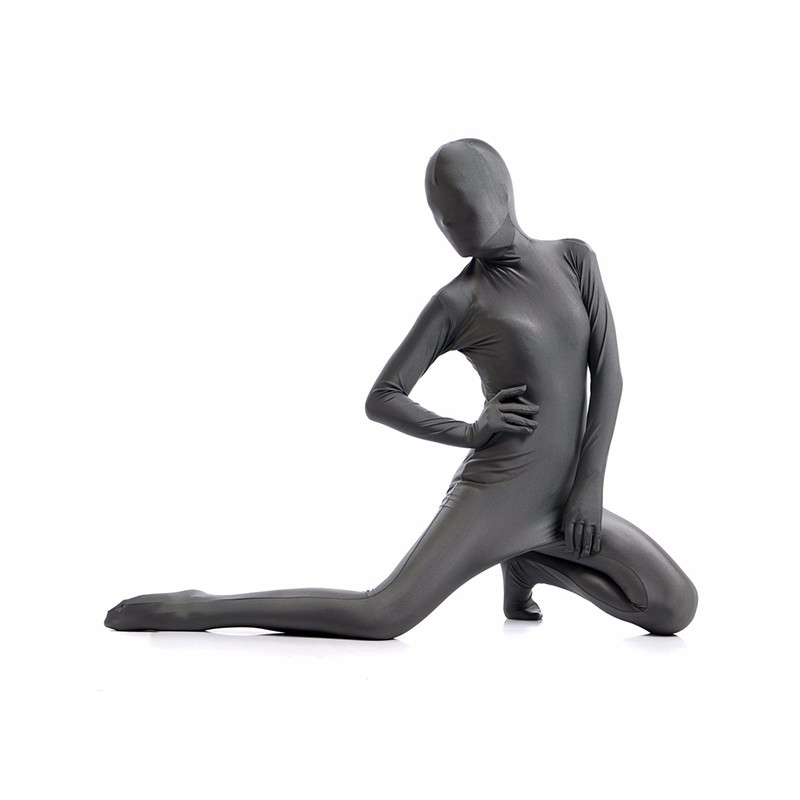 Ainclu 24 hours Customize for adults and kids Dark Gray Lycra Spandex Zentai Suit for Women Female Halloween Jumpsuit Romper
