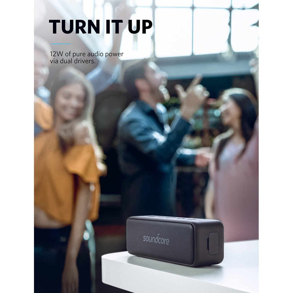 anker soundcore waterproof portable bluetooth speaker with 12w louder stereo sound and 12+ hr long playtime
