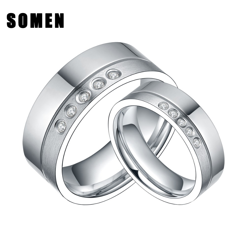somen 6mm8mm engagement wedding band ring set titanium rings for him and her polished brushed pipe eternity - Wedding Ring Set For Him And Her