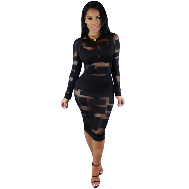 2016 New Winter Women Black White Sexy Club Bodycon Dress Sheer Mesh Patchwork Patch Vintage Long Sleeve Bandage Party Dresses