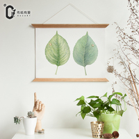 Wood Scroll Painting fresh leaves Nordic modern frame canvas painting for living room wall art decoration posters