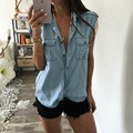 LASPERAL T-shirts For Women Summer Denim T-Shirts Fashion Sleeveless Linen Basic Tops T-Shirts Crop Top Women Light Blue