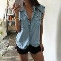 Lasperal camisetas para las mujeres del verano camisetas sin mangas de la manera del dril de algodón de lino básico tops camisetas crop top mujer azul