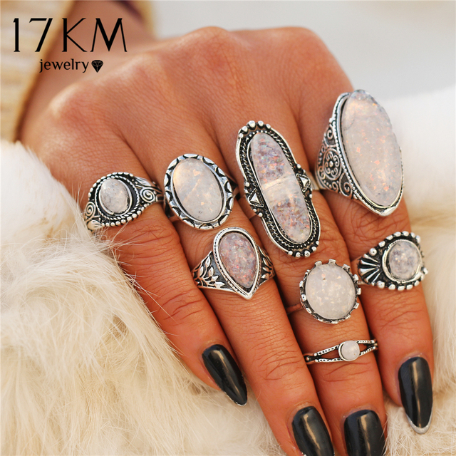 17KM BOHO Big Opal Stone Midi Rings Set For Women New Design Retro Silver Color