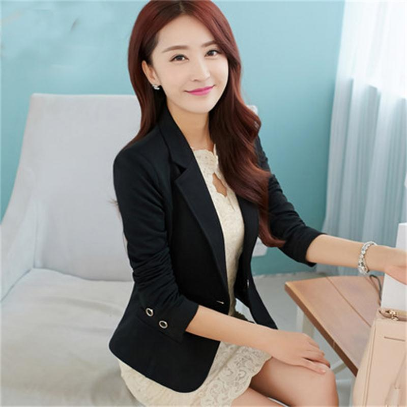 Spring And Autumn New Suit Women's Jacket Short Slim Women's Blazers Jacket Long Sleeve Small Suit Solid Color Women's Tops