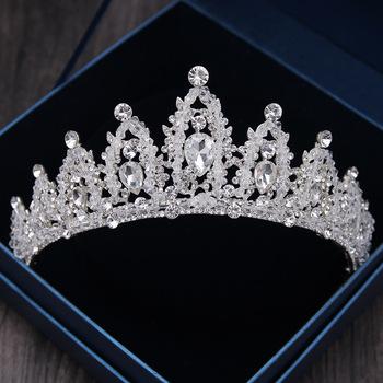 Barokowe luksusowe koraliki z kryształu górskiego Diadem panny młodej srebrny kolor kryształu Diadem tiary opaski panny młodej ślubne akcesoria do włosów tanie i dobre opinie George Black Ze stopu cynku Moda Kobiety TRENDY Hairwear HG001 PLANT Baroque Crowns Silver Crystal Bridal Tiaras Wedding Accessories