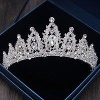 Baroque Luxury Handmade Rhinestone Bridal Crown Tiaras Silver Crystal Diadem Tiaras For Bride Headbands Wedding Hair