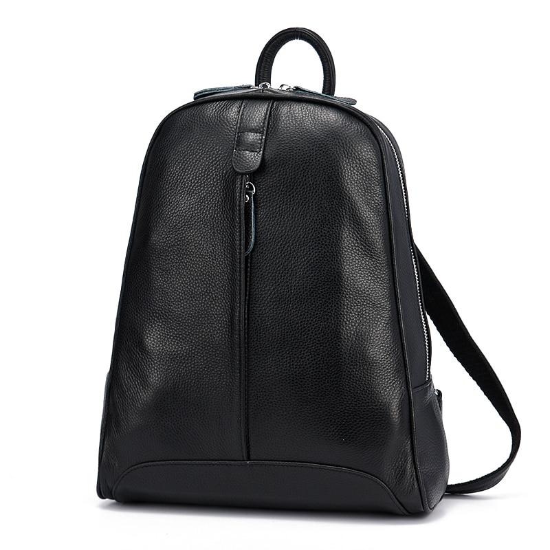 Zency 100% جلد طبيعي أزياء النساء على ظهره عارضة السفر حقيبة Preppy نمط الفتاة المدرسية الدفتري المحمول الحقيبة-في حقائب الظهر من حقائب وأمتعة على  مجموعة 3