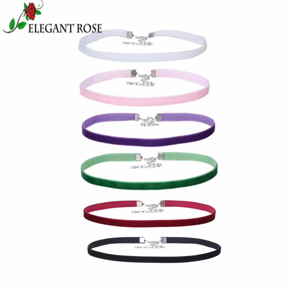 Elegant Rose 6 PCs/set 6 kind Colors Sample Velvet Choker Necklaces Fashion Jewelry For Charm Women Girls Party Gifts P32