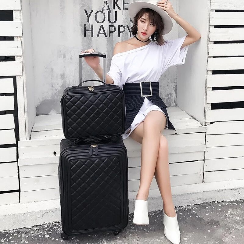Fashion brand with quality 16/20/24 size PU Rolling Luggage Spinner brand Travel Suitcase trolley travel suitcase for women vintage suitcase 20 26 pu leather travel suitcase scratch resistant rolling luggage bags suitcase with tsa lock