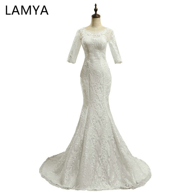 LAMYA Cheap Plus Size Bridal Gowns Lace Mermaid Wedding Dresses Half ...