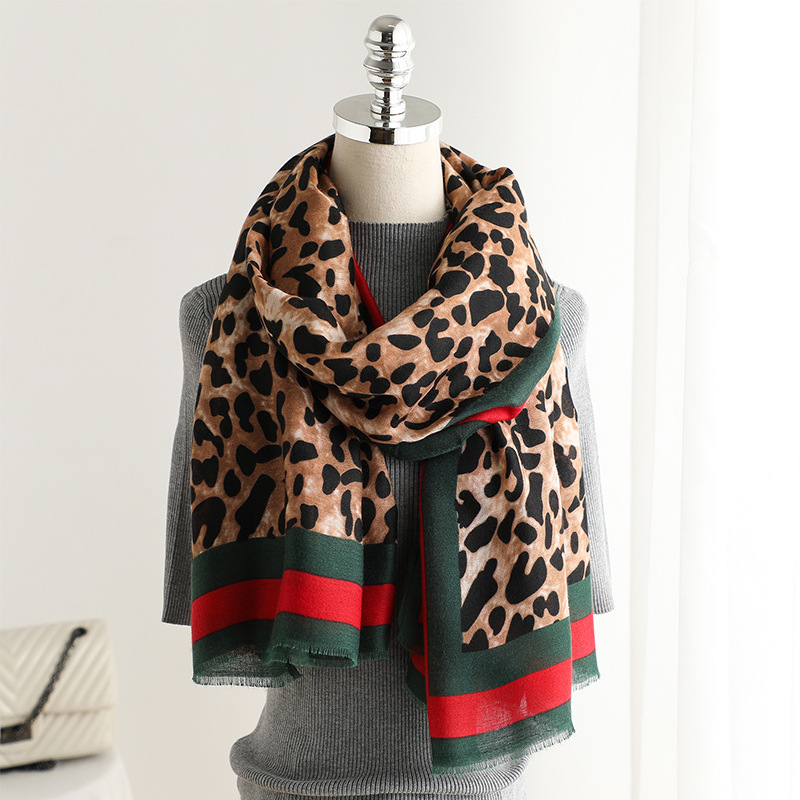 Ladies Animal Tiger Print Striped Border Large Scarf Wrap Cover Up Shawl Stole