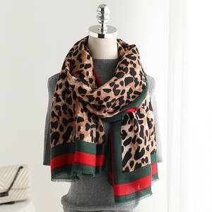 Scarf Shawl Animal Printed Leopard Basic-Design Soft Cotton Women Stole Light-Weight