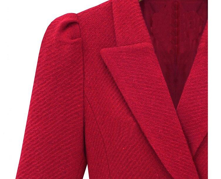 2018 Invierno Cashmere Abrigos Femininos Abrigo Negro rojo Elegante Señoras Otoño Lana Moda Delgado Casaco Rompevientos Mezcla De qr5nqwzCUp