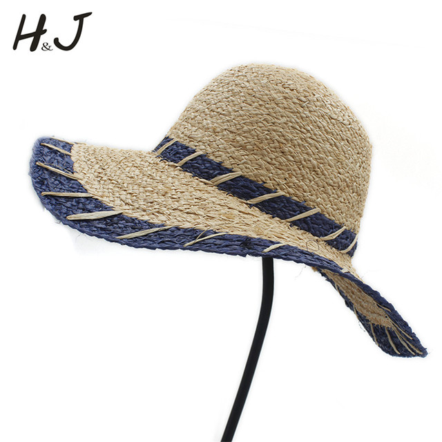 7a4460486f3 Fashion Summer Women Natural Raffia Straw Sun Hat Girl Wide Brim Dome Bucket  Hat Elegant Lady