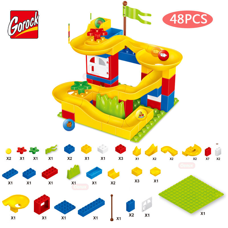 GOROCK 48PCS/SET Happy Pipeline Paradise Model Large Particles Building Block Toy Slide Amusement Brick Toys Compatible Duplo oenux happy princess angel castle model large particles building block kids diy brick toy for girl s gift compatible with duplo