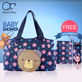 3pcs/set Nylon Waterproof Baby Diaper Bags Messenger Bags Multifunctional Large Capacity Mummy Bag Stars Bear Women Diaper Bag
