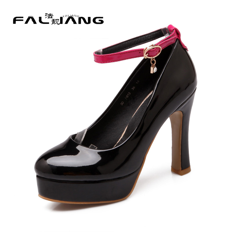 ФОТО Big Size 11 12 13 14 15 Fashion Buckle Casual Square heel Women's Shoes Extreme High Heels Pumps Woman For Women Platform Shoes