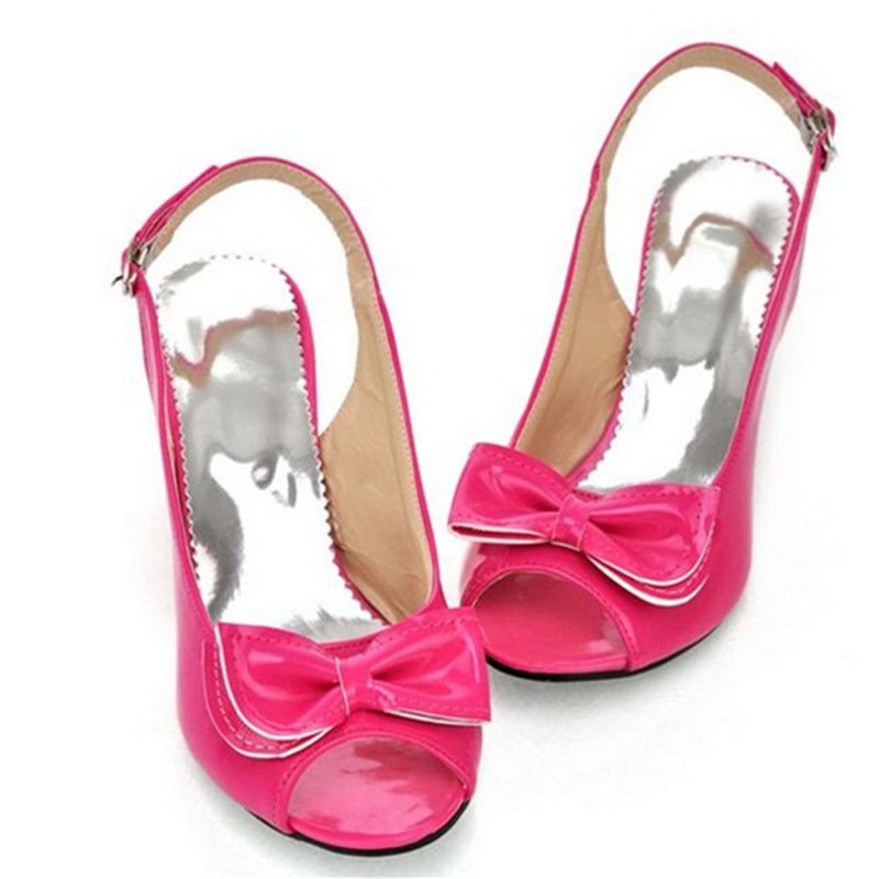 Women Elegant Sweet Plus size (4-15) Bow peep toe Back strap thin high Med heels Lady Dressing shoes pumps sandals summer style