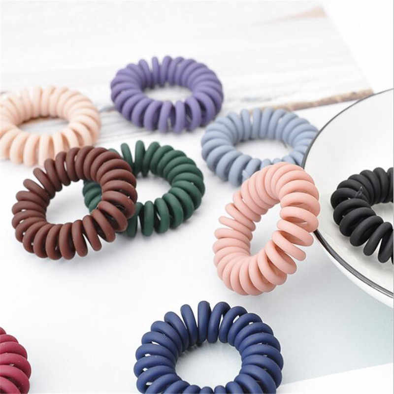 1PC Scrub Elastic Rubber Bands Telephone Wire Hair Ties Donut Ponytail Holder Gum Women Girls Spiral Scrunchies Hair Accessories