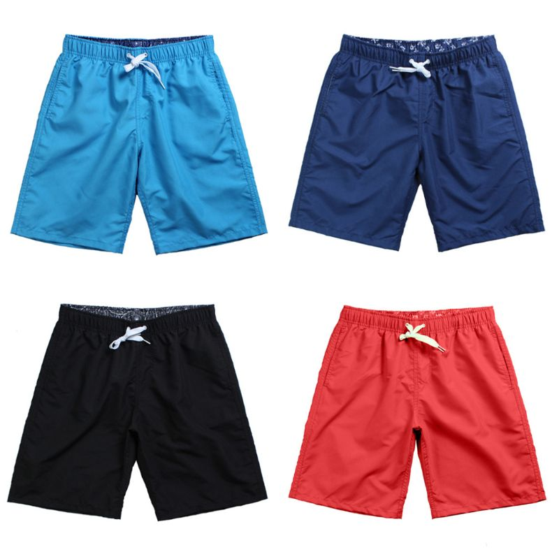 Mens Waterproof Swimming Trunks Solid Color Quick Dry Surfing Sports Beach Shorts Drawstring Adjustable Board Pants With Pockets