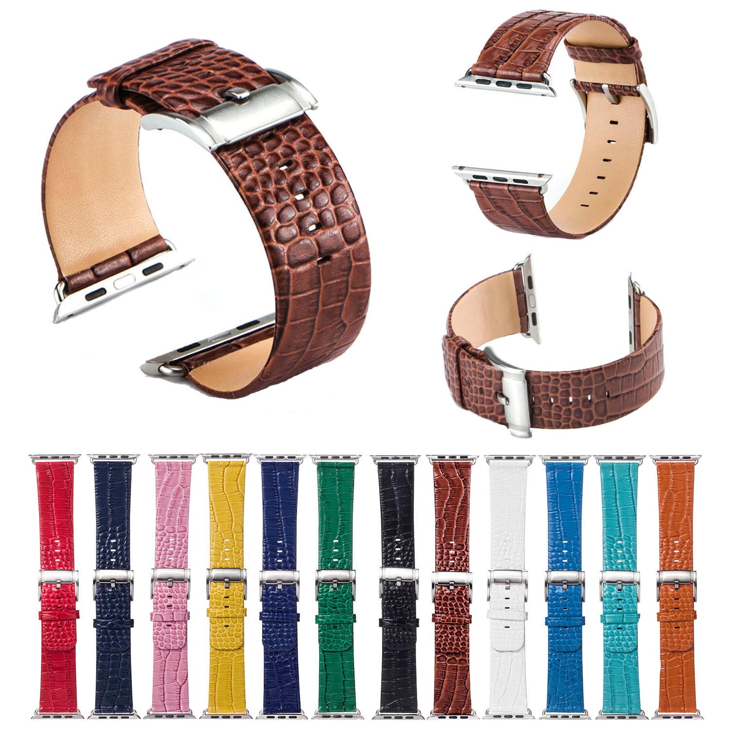 Colorful Crocodile Pattern Band for Apple Watch Series 3 2 1 Genuine Leather Strap Bracelet for iWatch 38mm 42mm Watchbands Belt kakapi crocodile skin genuine leather watchband with connector for apple watch 38mm series 2 series 1 pink