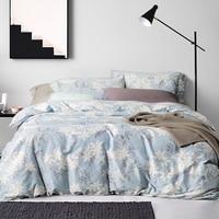 100 Sateen Cotton Bedding Set Bird Plant Printed Duvet Cover 300TC Home Textiles For King Queen