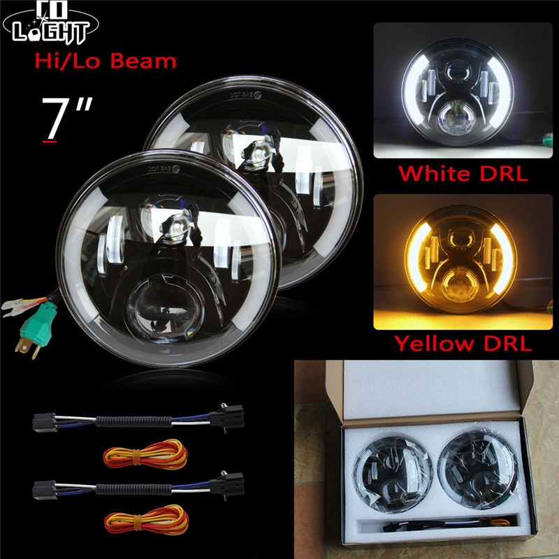 CO LIGHT 7 LED Headlights 80W Hi-Lo H4 H13 Angel Eye for Land Rover Defender Jeep Wrangler Lada 4x4 Niva Auto DRL Fog Light 12V co light 105w round 7 inch led headlight h4 h13 angel eye hi lo drl 12v 24v for jeep wrangler land rover lada niva 4x4 off road