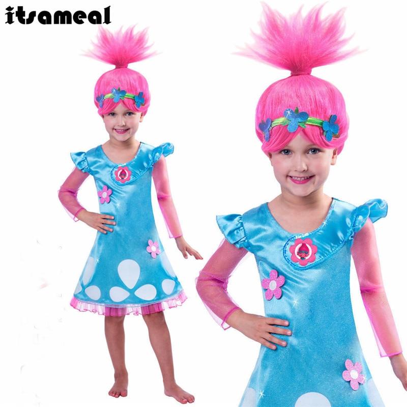 Girls Dresses Trolls Poppy Cosplay Costumes Dress For Girls Bobo Choses Streetwear Halloween Clothes Kids Fancy Dress Girl Wig