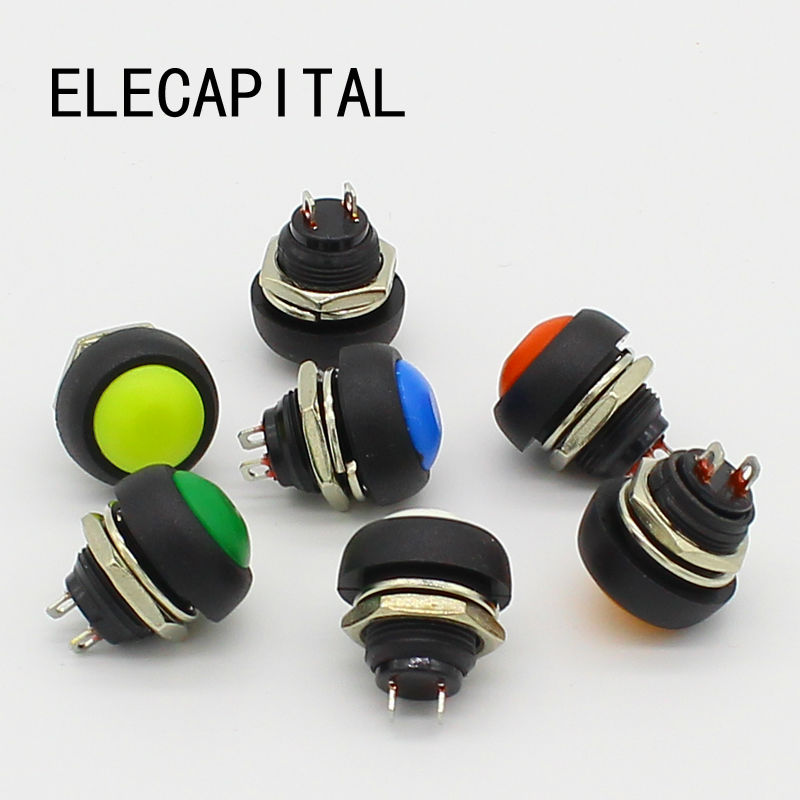 7PCS 12mm Waterproof Momentary Push button Switch OFF-(ON) Self Return 50pcs lot 6x6x7mm 4pin g92 tactile tact push button micro switch direct self reset dip top copper free shipping russia