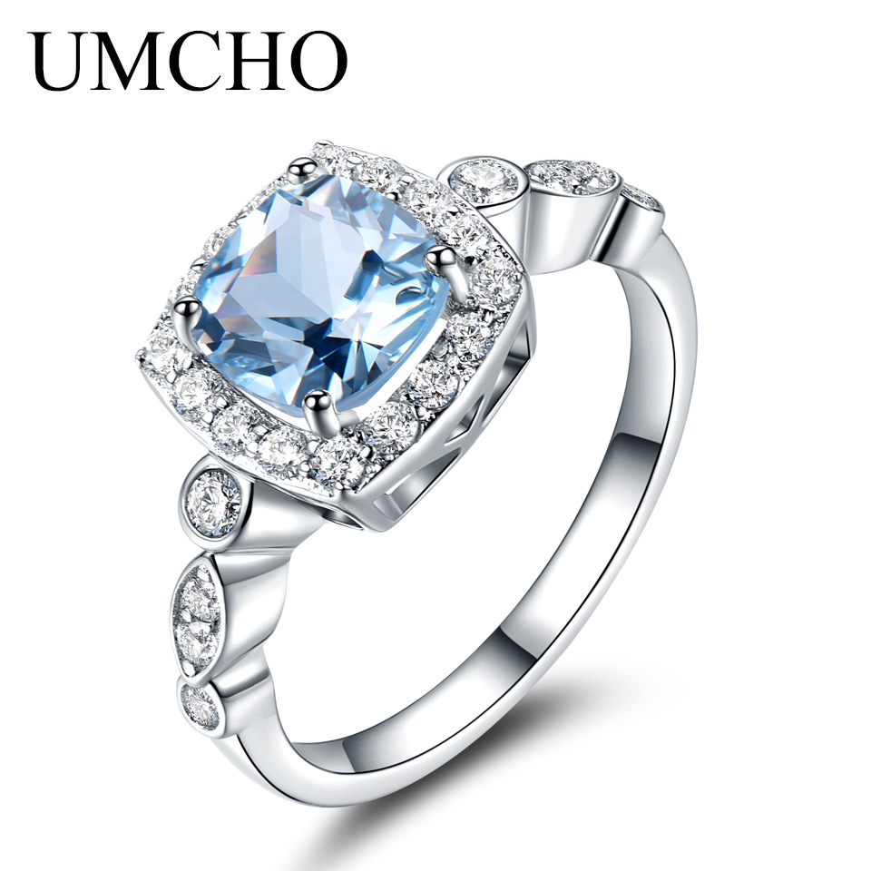 UMCHO Real S925 Anelli in argento sterling per le donne Blue Topaz Ring Gemstone Aquamarine Cushion Romantico gioielli regalo di fidanzamento