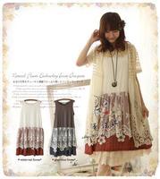 Spring Summer Lace Pleated Mori Girl Lolita Hippie Boho Gothic Vestido De Noiva Tunique Femme Vestidos