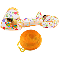 3 in 1 Outdoor Plastic Toddler Baby Playing House Playing Play Tent with Tunnel Ball Pit for Kids Boys Girls