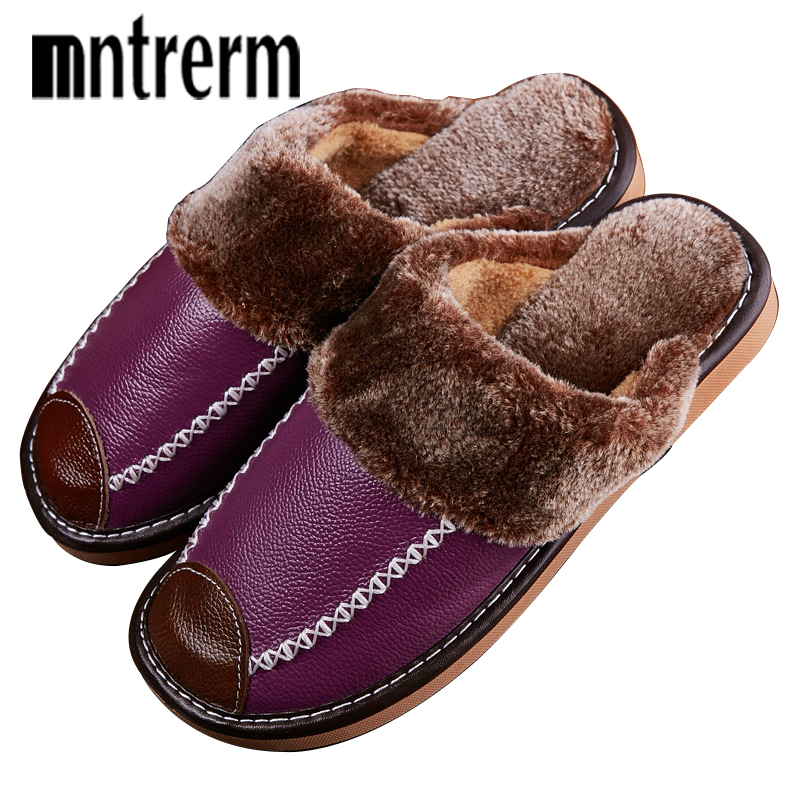 Mntrerm Ladies Slippers Winter Genuine Leather Home Indoor Non-Slip Thermal Woman Slippers 2018 New Warm Winter Slippers CoupleMntrerm Ladies Slippers Winter Genuine Leather Home Indoor Non-Slip Thermal Woman Slippers 2018 New Warm Winter Slippers Couple
