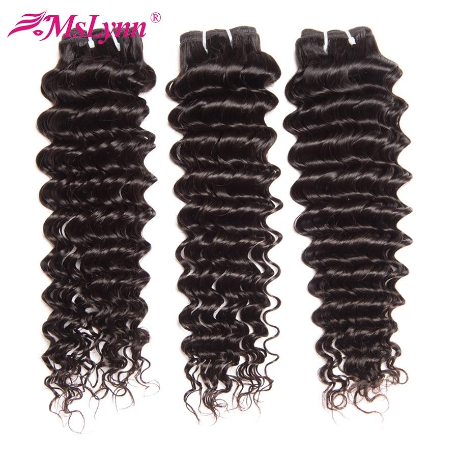 Brasilianische tiefe Welle bündelt menschliche Haarwebart bündelt Mslynn Hair 1/3 Bündel Angebote Naturel Farbe Nicht Remy Haarverlängerungen 10-28