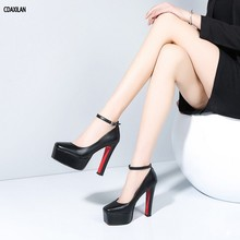 цены CDAXILAN new arrivals pumps shoes women genuine leather spike heels square toe super heels buckle-strap shoes ladies party shoes