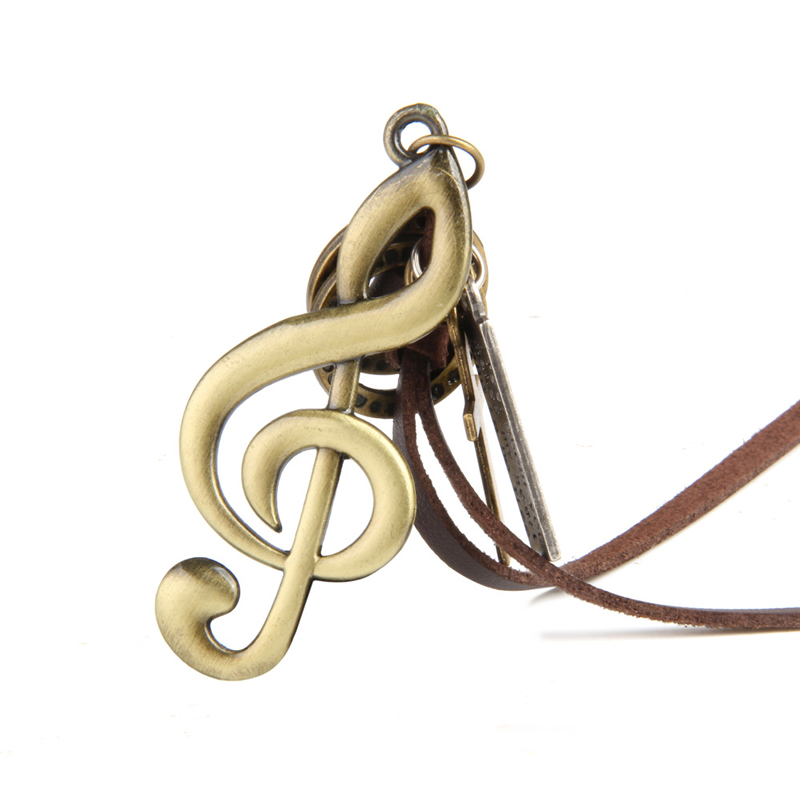 NIUYITID Music Note Necklace & Pendants Vintage Women Men Neckless Handmade Long Adjustable Brown Rope Chain Jewelry Male (6)