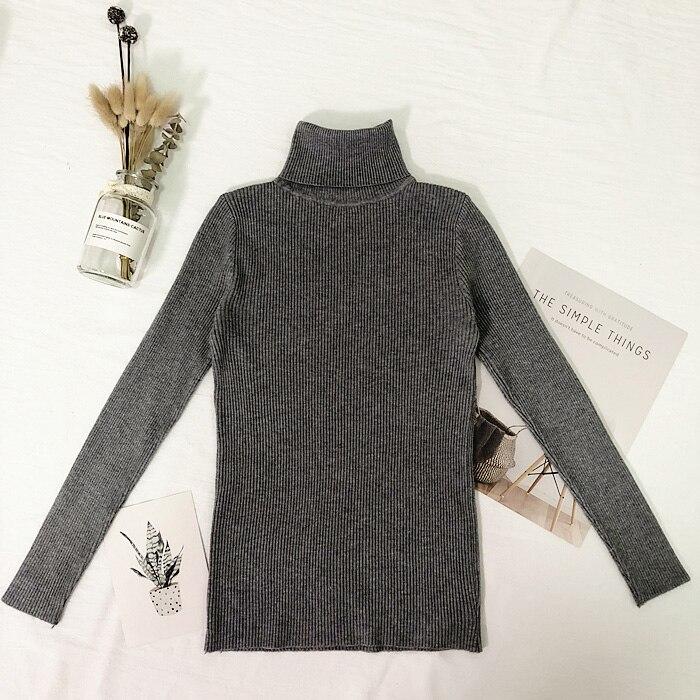 Женские свитера, зимние топы, водолазка, свитер для женщин, тонкий пуловер, джемпер, вязаный свитер, Pull Femme Hiver Truien Dames, новинка - Цвет: Серый