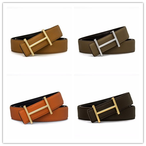 2018 High quality design famous luxury brand H belt, men business popular Genuine leather belt, women fashion H buckle belt 150
