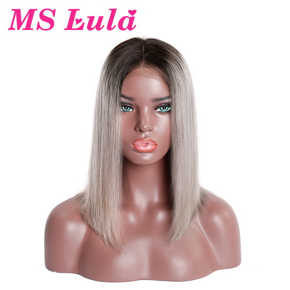 MS Lula 1B/Grey Brazilian Lace Front Straight Human Remy Hair Wigs Ombre Short Bob Wigs Medium Size Middle Part 150% Density