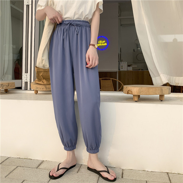 LKlady Bloomers Woman Autumn And Summer Snow Do Spinning Nine Part Thin Section Student Pants Easy Leisure Time Upon Haren
